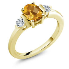 0.98 Ct Oval Checkerboard Yellow Citrine White Topaz 18K Yellow Gold Ring