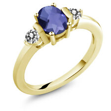 0.85Ct Checkerboard Blue Iolite White Diamond 18K Yellow Gold Plated Silver Ring