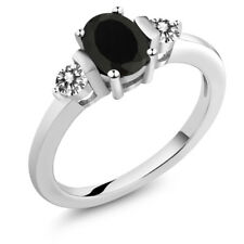 1.00 Ct Oval Black Onyx White Diamond 18K White Gold Ring