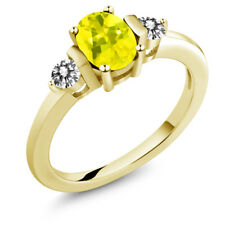 1.00 Ct Oval Canary Mystic Topaz White Diamond 18K Yellow Gold Ring
