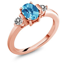1.15 Ct Oval Checkerboard Swiss Blue Topaz White Diamond 18K Rose Gold Ring