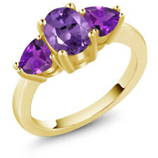 1.80 Ct Oval Purple Amethyst 18K Yellow Gold Plated Silver Ring