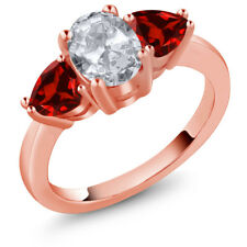 2.38 Ct Oval White Topaz Red Garnet 18K Rose Gold Plated Silver Ring