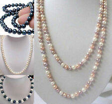 "Long 18"" 25"" 36"" 50"" 65"" 80"" 100"" 8-9mm Natural Akoya Cultured Pearl Necklace"