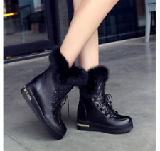 Womens Fur Lined Cute High Top Ankle Boots Lace Up Wedge Heels Winter Warm Shoes