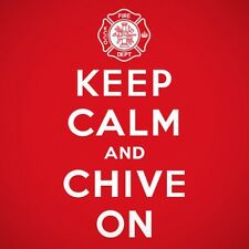 Authentic Red Firefighter Keep Calm and Chive On Tee - KCCO - Size Large