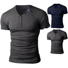 New Mens Slim Fit V-neck Cotton Casual T-shirt Short Sleeve Muscle Shirt Fashion