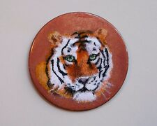 Vintage Signed Miniature Enamel on Copper Fine Art Medallion Round  ~ Tiger ~