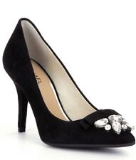 MICHAEL KORS Pumps Black Suede Leather Bow Crystal Rhinestones Shoes NEW $250