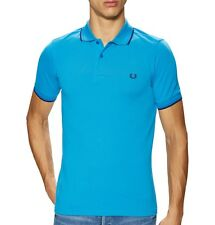 Fred Perry Men's Short Sleeve M3600 Twin Tipped Pique Polo Shirt Clear Blue NWT