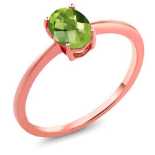 0.85 Ct Oval Checkerboard Green Peridot 10K Rose Gold Ring