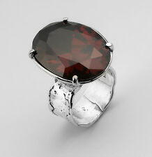 Vintage Silver Ring With Garnet Bordaux 18X25mm Oval Facet Size 5 6 7 8 9