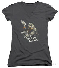 Juniors: Lord Of The Rings - Pretty Face V-... Juniors (Slim) T-Shirt - Charcoal