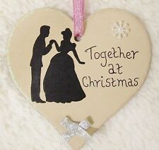 DISNEY PRINCESS CINDERELLA HANDMADE PERSONALISED CHRISTMAS TREE HEART DECORATION