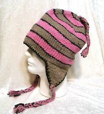 New Nepal Beanie Hat Pilot Ski Cap Handmade 100% Wool with Fleece Unisex Warm!