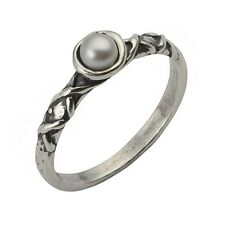 Designed Unique Silver Ring 100% Solid Pearl White Stone Size 5 6 7 8 9
