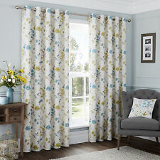 One Pair of Fully Lined Ring Top Curtains with Printed Flowers – 100% Cotton