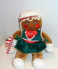 "Gingerbread girl holding candy cane 13"" plush doll vintage 1990"