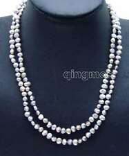 "Fashion Long 40"" Gray 6-7mm Baroque Natural freshwater pearl necklace-nec6114"