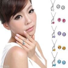 Fashion Women Necklace Earrings Silver Plated Rhinestone Long Chain Jewelry Set