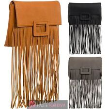 WOMEN'S NEW FRINGE DETAIL FAUX LEATHER CLUTCH HANDBAG