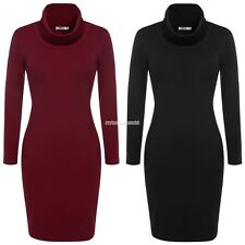 Women Cowl Neck Sweater Dress Casual Work Party Club Knit Long Sleeve 4 Colors