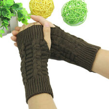 Women Winter Half Finger Fingerless Gloves Wrist Arm Hand Warmer Knitted Mittens