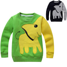New children Boys Girls Elephant long sleeved shirt hedging round neck Clothes