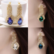 1 Pair Dangle Rhinestone Women Ear Studs Gold Plated Teardrop Earrings Crystal
