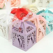 50PCS Hollow Bride Groom Candy Boxes Ribbon Gift Box Wedding Party Decor Favor