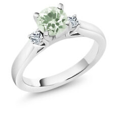 1.23 Ct Round Green Amethyst White Topaz 14K White Gold 3-Stone Ring