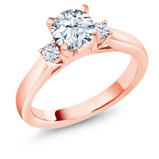 1.42 Ct Hearts And Arrows White Created Sapphire 14K Rose Gold 3-Stone Ring