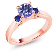 1.26 Ct Blue Mystic Topaz Blue Simulated Sapphire 18K Rose Gold 3-Stone Ring