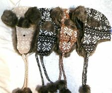 New Winter Soft Knit Hat Trapper  SNOWFLAKE Snow Ski Faux-Fur Lining Insulated
