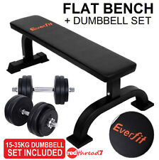 Flat Press Bench + 15-35 KG Dumbbell Set Weights Fitness Exercise Home Gym