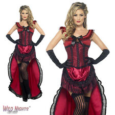 FANCY DRESS COSTUME # LADIES WESTERN AUTHENTIC BURGUNDY BROTHEL BABE SIZE 8-18