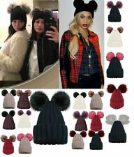 LADIES GIRLS NEW TRENDY CUSTOMIZABLE KNITTED TWO FAUX FUR POM POM BEANIE HAT