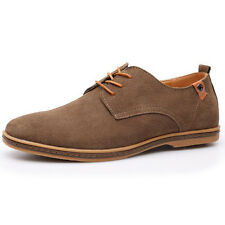 Classic Men's Suede Leather Shoes Men's Oxfords Casual Flat Lace Up Multi Size