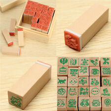 25pcs Happy Life Diary Stamp Set DIY Rubber Wooden Stamp Funny Kids Learning Toy