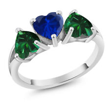2.16 Ct Blue Simulated Sapphire Green Simulated Emerald 925 Sterling Silver Ring