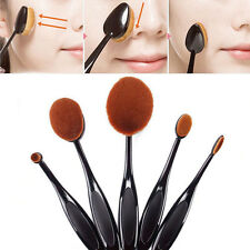 5pcs Pro Makeup Brush Kit Blue Toothbrush Oval Foundation Powder Eyeshadow Brush