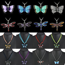 Stylish Womens Enamel Butterfly Crystal Silver Pendant Necklace Chain Jewelry