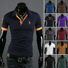 Mens Stylish Casual Short Sleeve T-shirts Slim Fit Tee Top Polo Shirt 10Colors