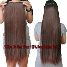 200g Deluxe Thick 5Clips On One Hairpiece Clip In Real Human Hair Extensions AU