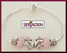 Mother Daughter Serjaden Charm Bracelet W/ Pink Glass Beads Butterfly Locks #020