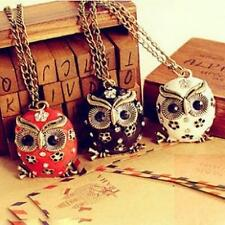 1Pcs Retro Necklace Rhinestone Charms Chain Sweater Owl Crystal Hot Long Pendant