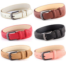Women Dotted Line Pin Buckle Slim Belt Casual Faux Leather Skinny Belts NY082