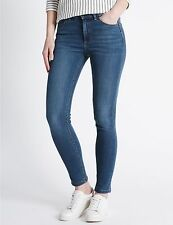 EX M&S COLLECTION 6342 LADIES SKINNY MID RISE DENIM JEANS ADDED STRETCH
