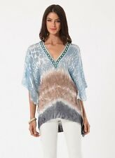 Hale Bob Beaded Blue Tunic Top Tie Dye Printed Silk Knit XS NWT $188 5TSN2657