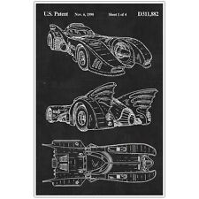 Batmobile Patent Blueprint Poster, Car Photo Art